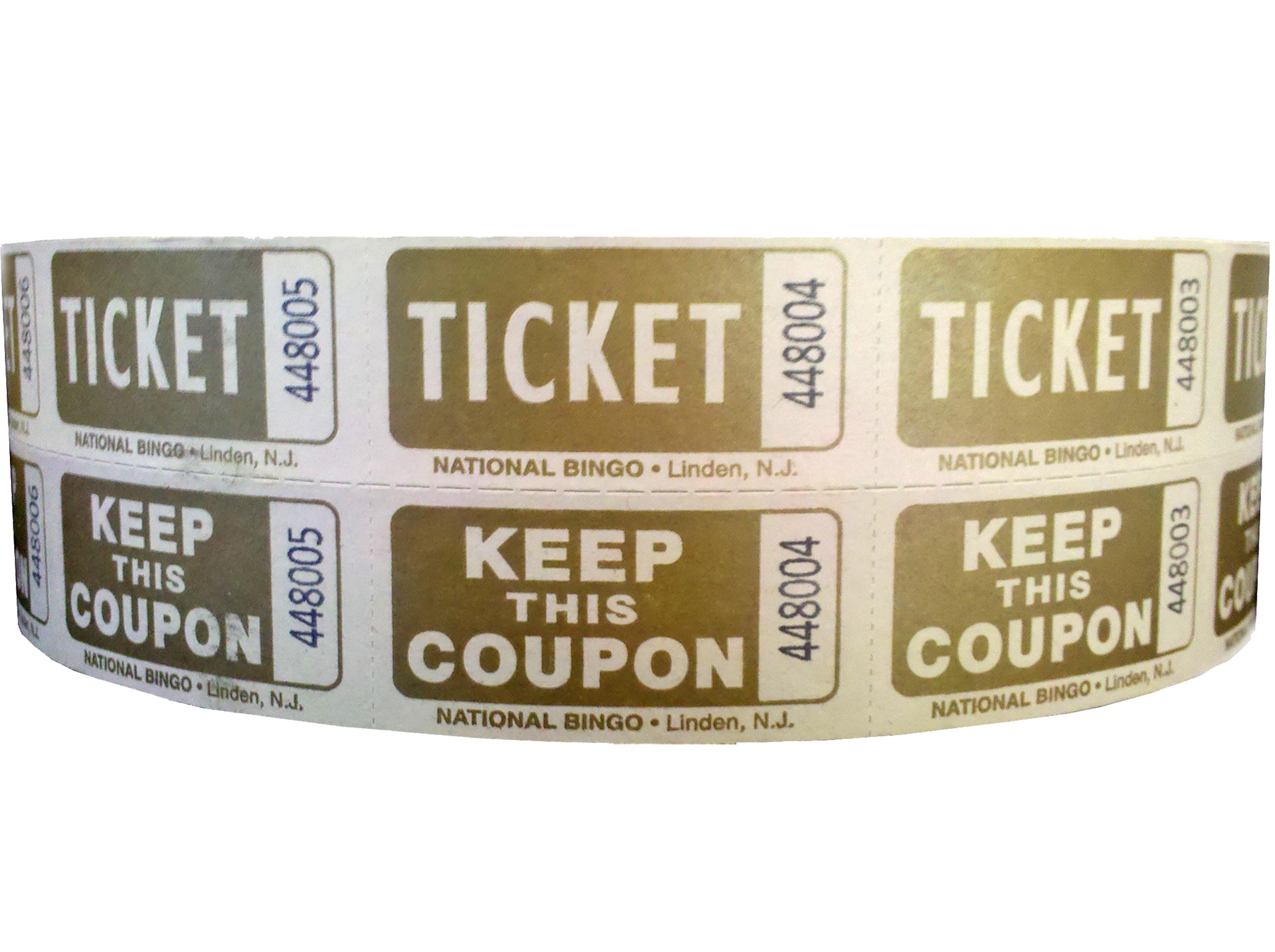 Gold Bristol Double Roll Tickets 2 X 2 Raffles, tickets, rolls, 50/50 tickets, 2 x 2 double roll tickets