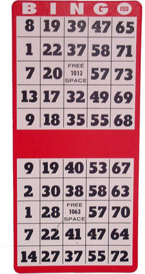 25-Pack-Professional 2 on 1 Vertical Hard Bingo Card Vertical, Hard, Bingo, Card, games